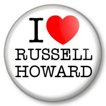 I Love / Heart RUSSELL HOWARD Pinback Button Badge Comedian Comic Funny Man Mock the Week